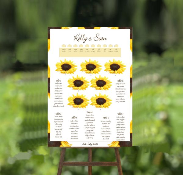 sunflower wedding table plan
