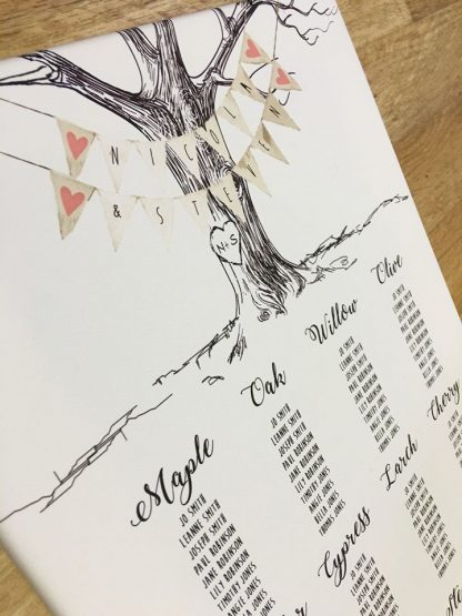 Vintage Engraved Tree Wedding Table Plan