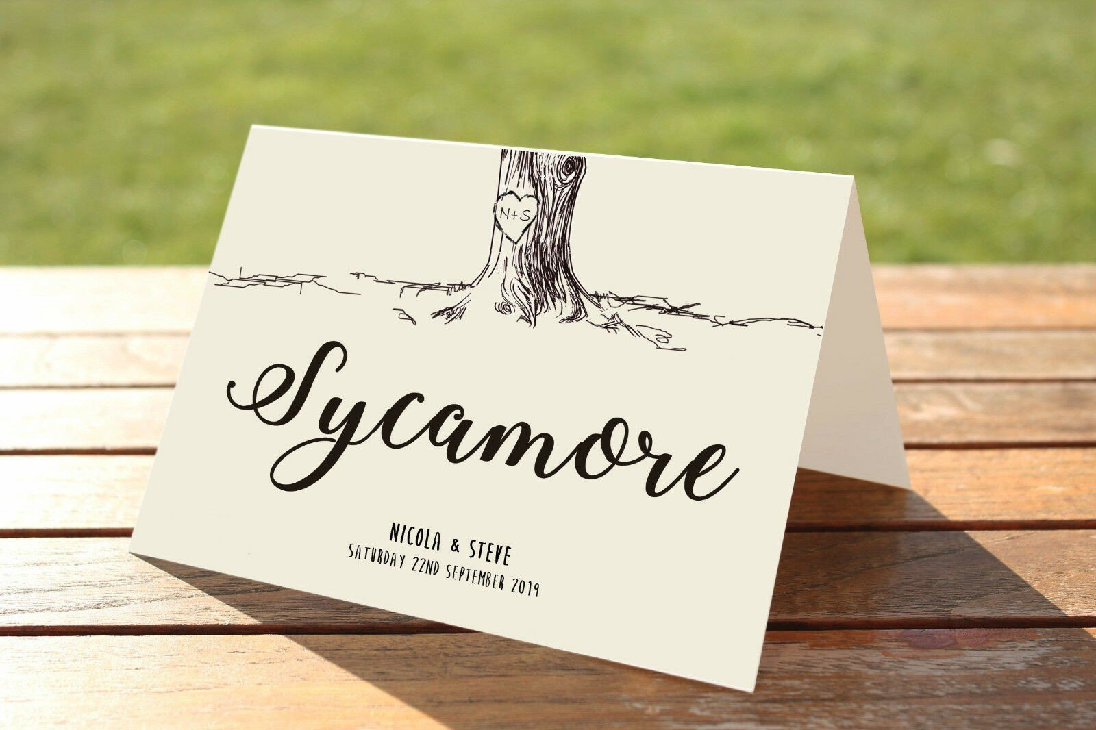 Vintage Engraved Tree Wedding table name