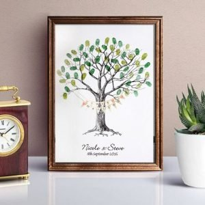 wedding fingerprint tree with bunting