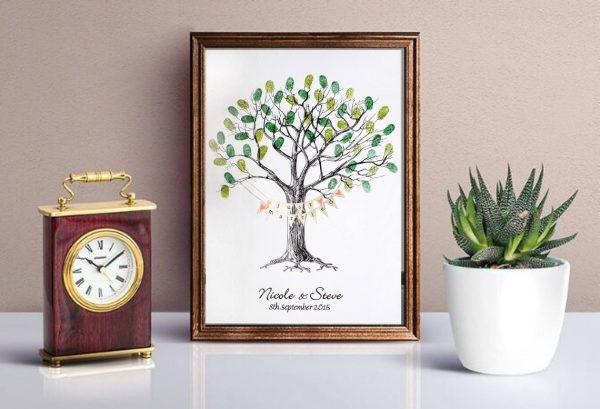 wedding fingerprint tree with bunting