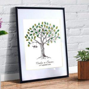 wedding fingerprint tree love birds