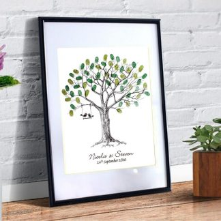 wedding fingerprint tree love birds