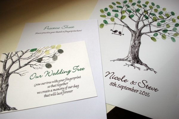 wedding fingerprint tree love birds 4