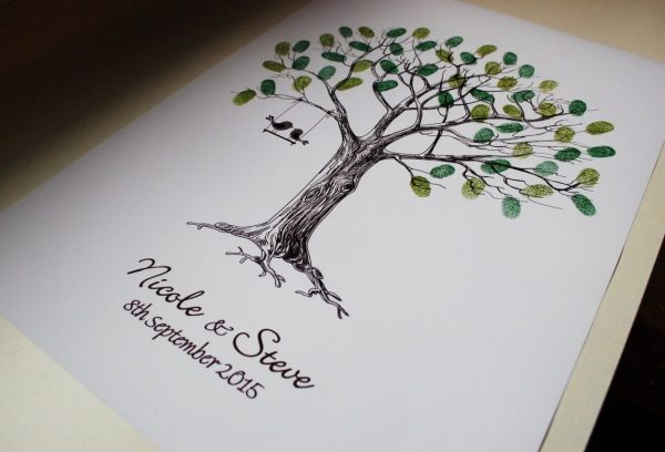 wedding fingerprint tree love birds3