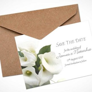 White Calla Lily Bouquet Save The Date Card / Magnet