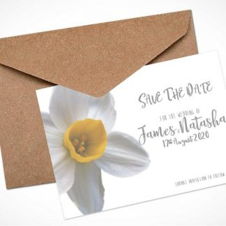 White Daffodil Save The Date Card / Magnet