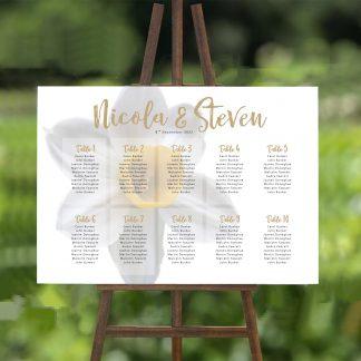 white daffodil wedding table plan