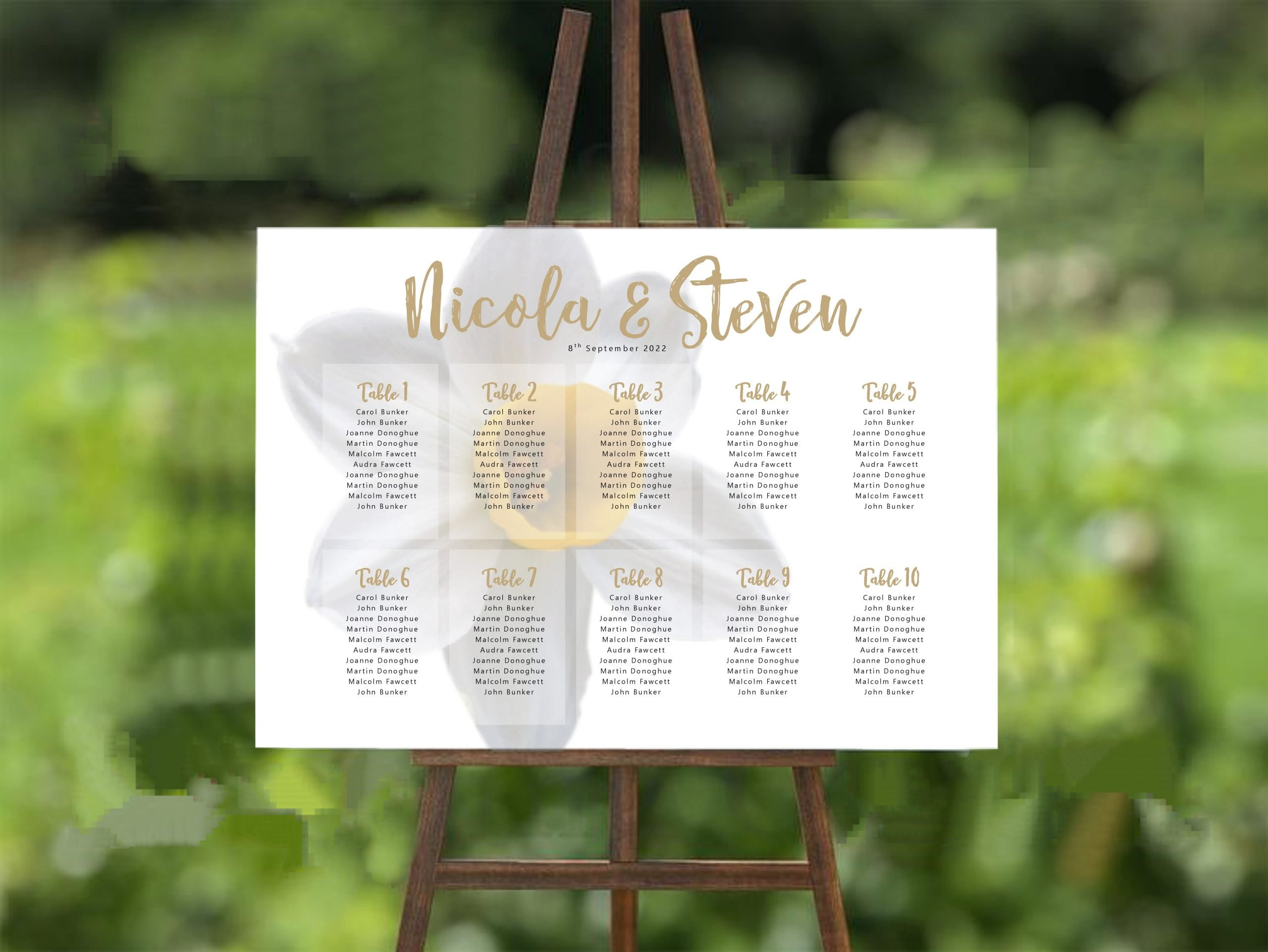 white daffodil wedding table plan