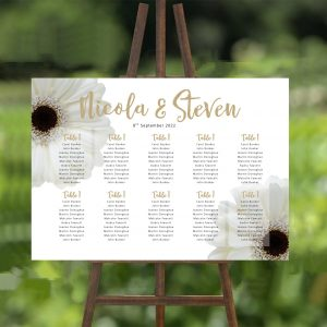white gerbera wedding seating plan