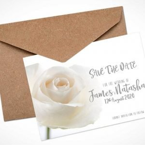 white rose save the date card