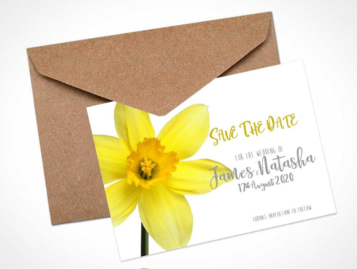 Yellow Daffodil Save The Date Card / Magnet