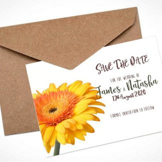 yellow gerbera save the date card