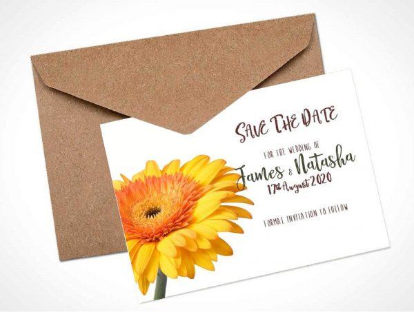 yellow gerbera save the date card