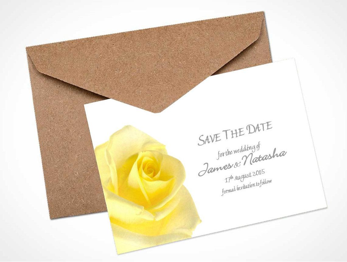 Yellow Rose Save The Date Card / Magnet