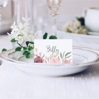 Dusky Pink Peony Wedding Place Card