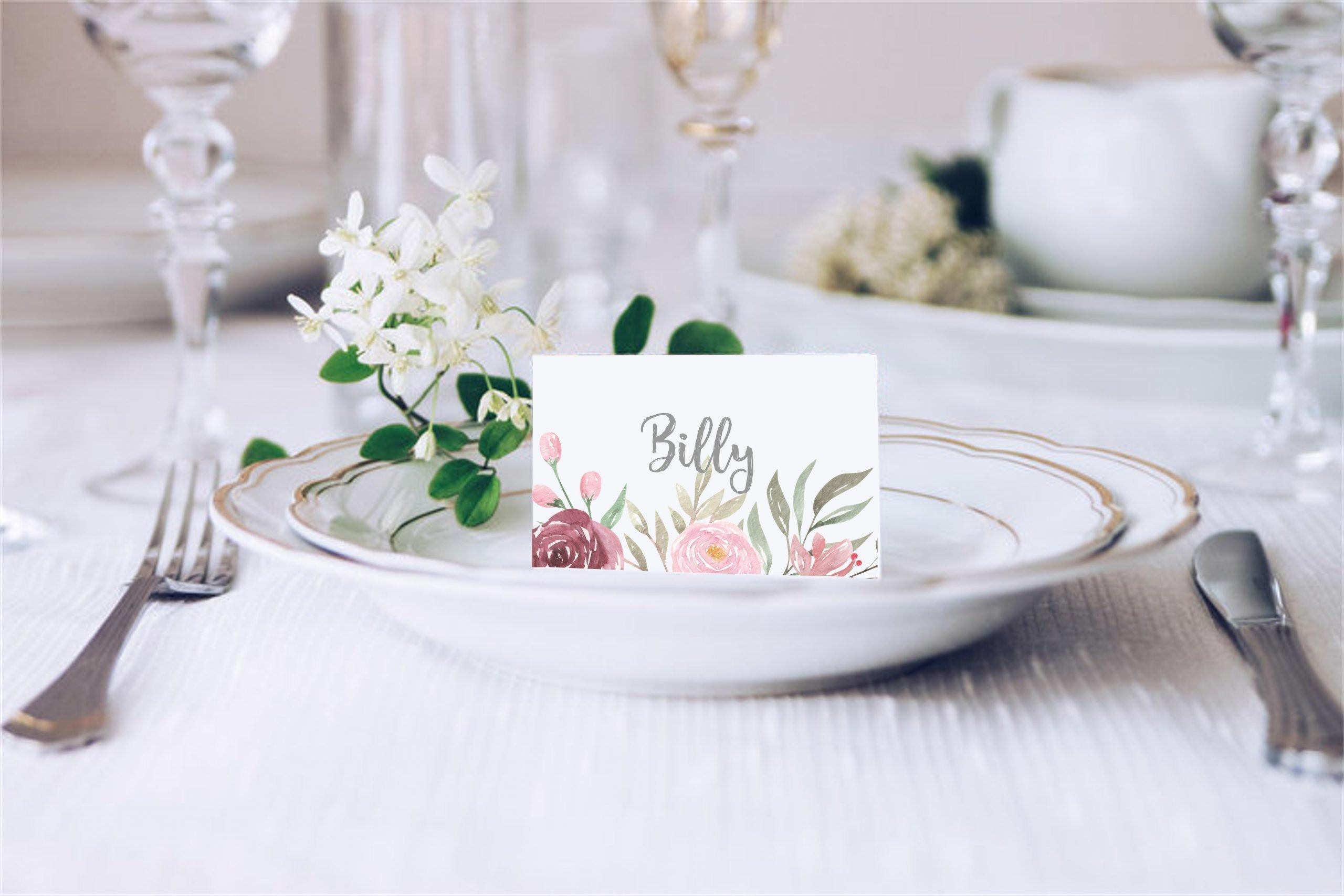 Dusky Pink Peony Wedding Place Card