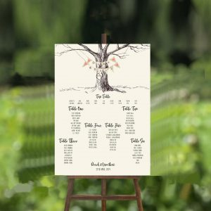 engraved tree wedding table plan