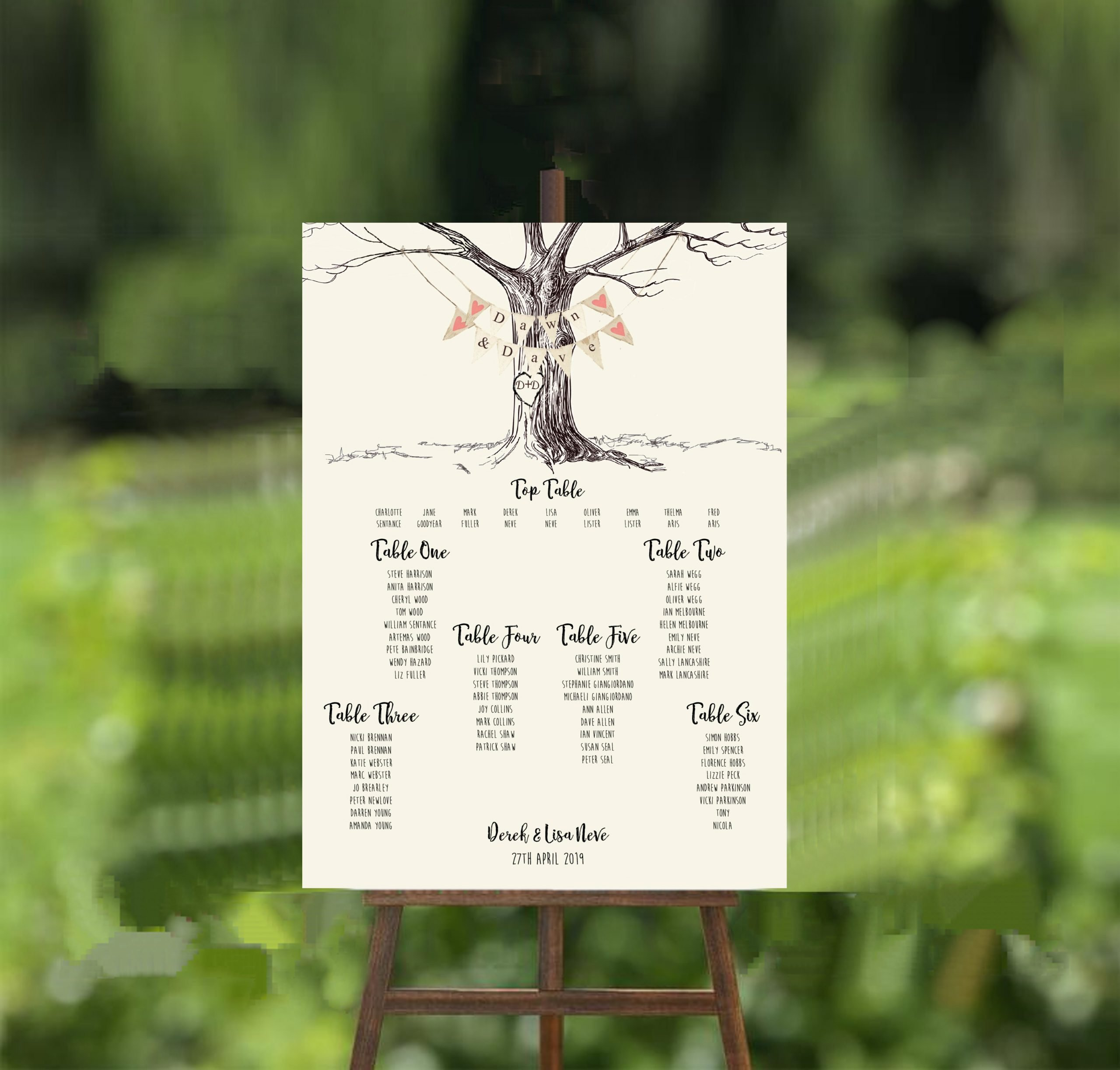 engraved tree wedding table plan