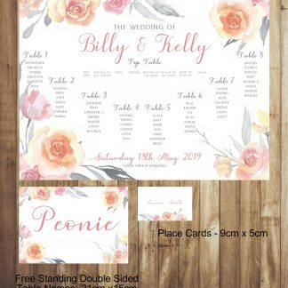 Pink and Grey Flowers Wedding Place Card