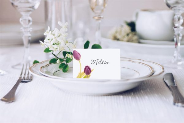 Lilac Tulips Wedding Place Card