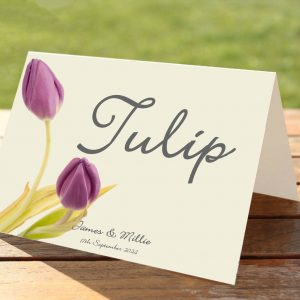 Lilac Tulips Wedding Table Numbers / Names