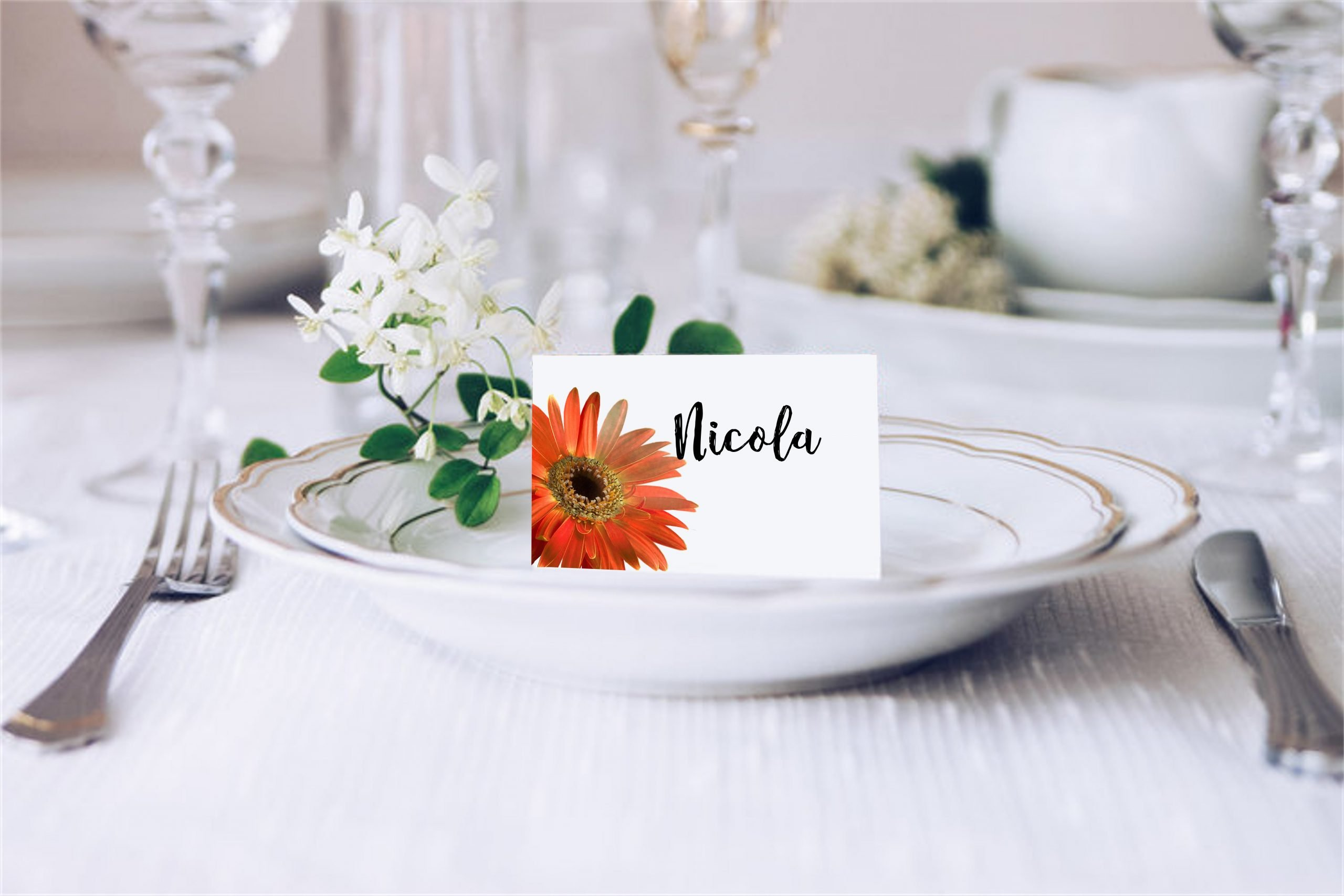 Orange Gerbera Wedding Place Card