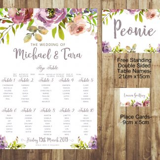 Lilac and Purple Peony Wedding Place Card