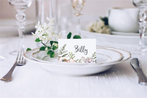 pink flowers place card
