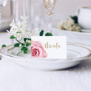 Pink Rose Wedding Place Card