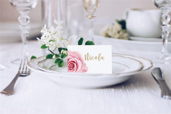 Pink Rose Wedding Place Card