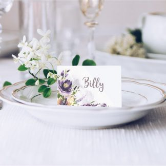 Purple Watercolour Flowers Wedding Place Card