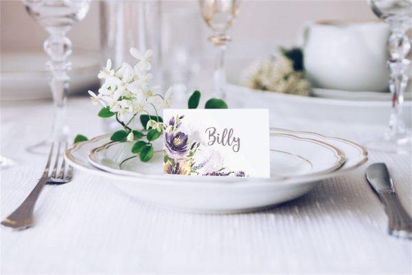 Purple Watercolour Flowers Wedding Place Card