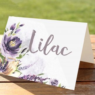 Purple Watercolour Flowers Wedding Place Card Table Numbers and Names