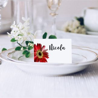 Red Gerbera Wedding Place Card
