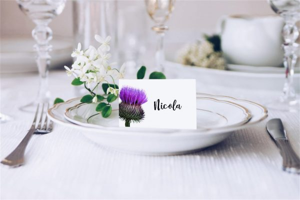 Purple Scottish Thistle wedding place card