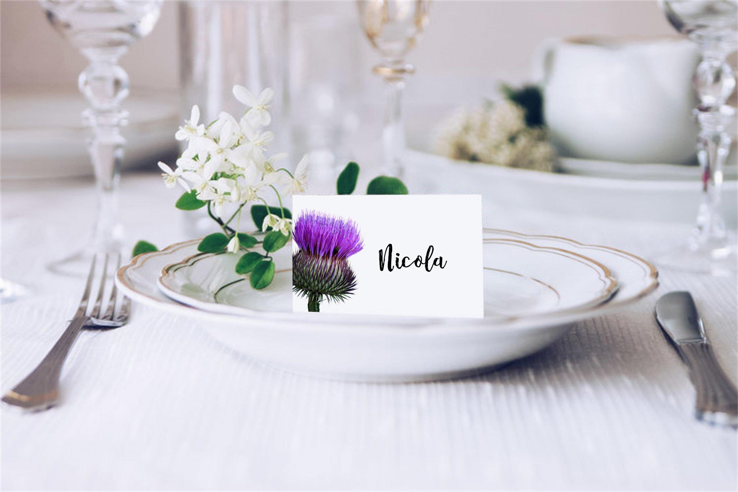 Purple Scottish Thistle wedding place card