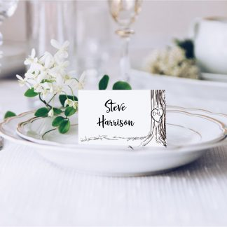 vintage engraved tree place card