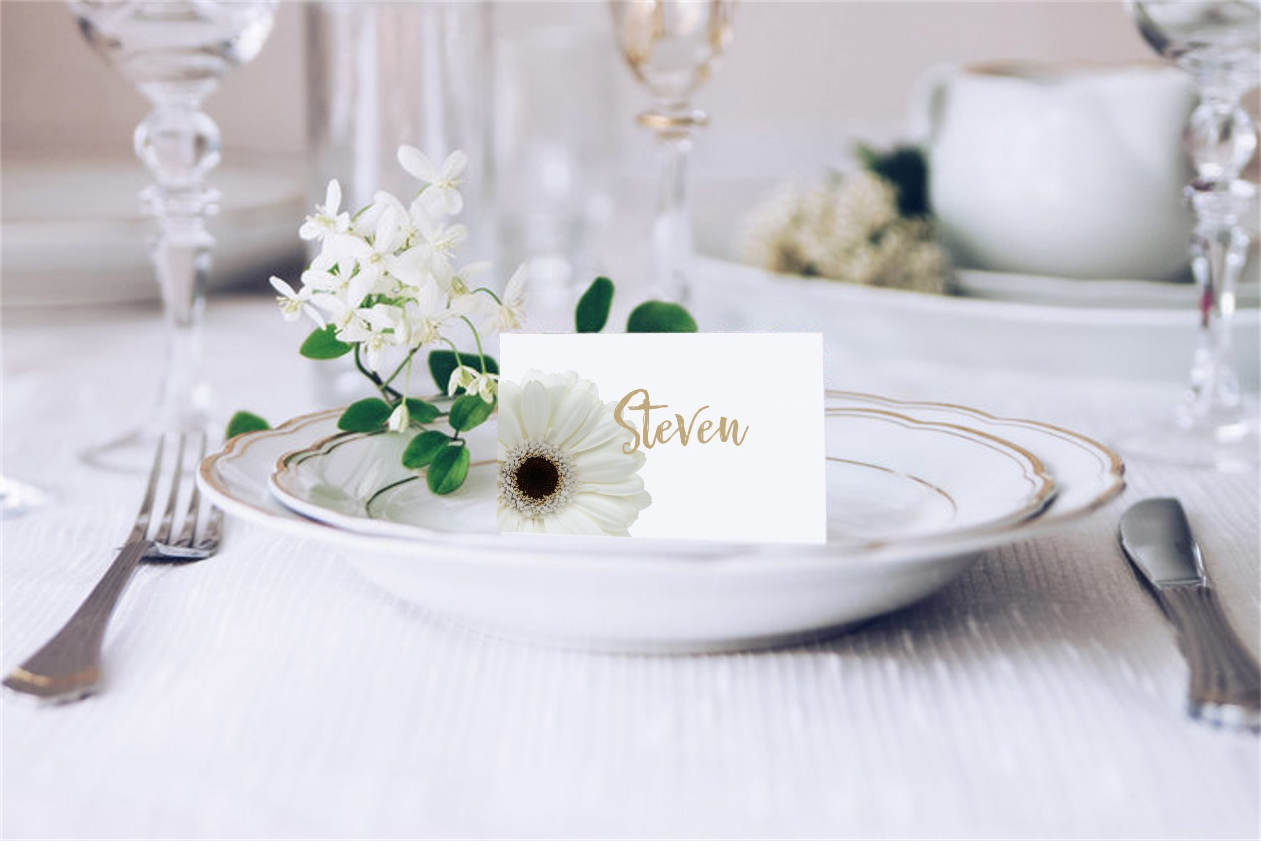 White Gerbera Wedding Place Card