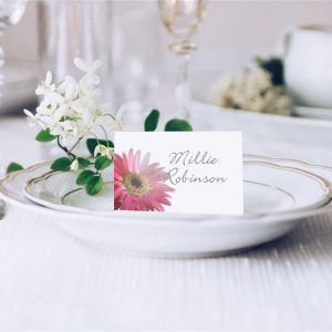 Pink Gerbera Wedding Place Card