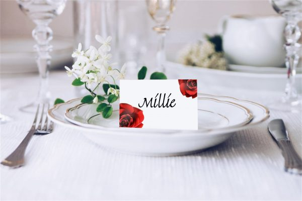Double Red Rose Flower Wedding Place Card