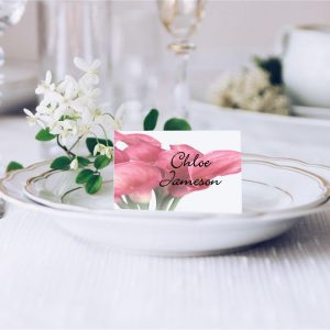 Pink Calla Lily Bouquet Flower Wedding Place Card