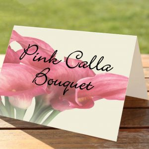 Pink Calla Lily Bouquet Wedding Table Numbers / Names