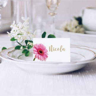 Pink Gerbera 2 Wedding Place Card