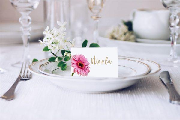 Pink Gerbera 2 Wedding Place Card