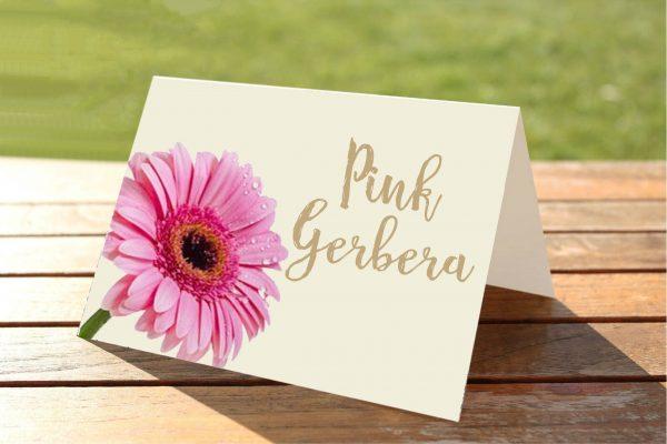Pink Gerbera Wedding Table Numbers / Names