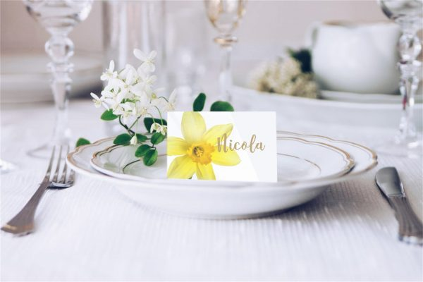 Yellow Daffodil Welsh Flower Wedding Place Card